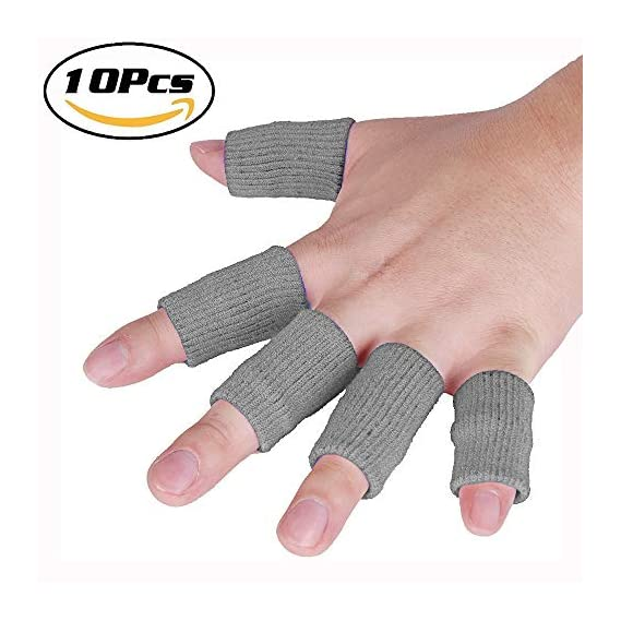 JoyFit - 10 Pcs Finger Support, Sleeve, Protector with Soft Comfortable Cushion Pressure, Safe, Elastic, Breathable for Basketball, Cricket, Volleyball, Baseball, Badminton,Tennis, Boating, Running, Table Tennis, Gym, Biking, Cycling for Men and Women