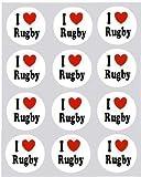12 Ich Liebe rugby design reispapier fee / becher kuchen 40mm cake topper vorschnitt deko