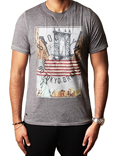 Mens Tokyo lavanderia grafica foto assortiti T-shirt stampate progettista AUBURN POINT Pewter Grey