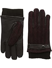 isotoner Men's Smartouch Rib Marl Back Leather Gloves