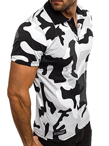 OZONEE Herren Herren Poloshirt Polohemd Polo T-Shirt Kurzarm Figurbetont BREEZY 600 Grau_ATHLETIC-1126
