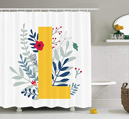 Jolly2T Letter L Shower Curtain, Plants and Flowers Pattern with Spring Theme in Uppercase Monogram Illustration, Cloth Fabric Bathroom Decor Set with Hooks, 60 x 72 Inches, Multicolor Monogram Snap