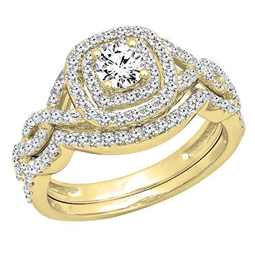 DazzlingRock Collection  -  14 Kt  Gelbgold Rundschliff   I-J Diamant  (Diamond 4-karat-ehering-sets)