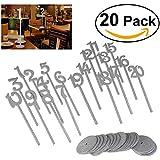 20pcs madera para números de mesa con base soporte resistente por 90puntos 1–20para Boda Fiesta Decoración (10* 3.2inches) plata