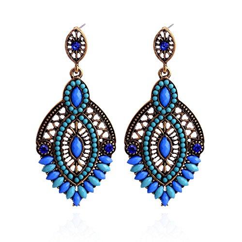 Lureme Perles Bijoux de Mode évider la Conception Ton Or avec Cristal Pendentif en Forme de Goutte deau Pendants doreilles pour les Femmes et les Filles (02003362-1) (Bleue)
