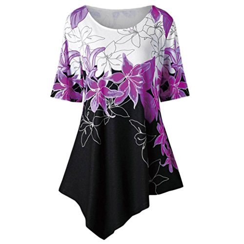 OVERDOSE Mode Kausal Damen Sommer Tops Große Größe Frauen Blumen Druck T-Shirt Kurzarm Casual Lang Bluse Oberteile(Violett,5XL)