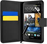 BLACK PU LEATHER FLIP SERIES CASE COVER + SCREEN PROTECTOR FOR HTC ONE