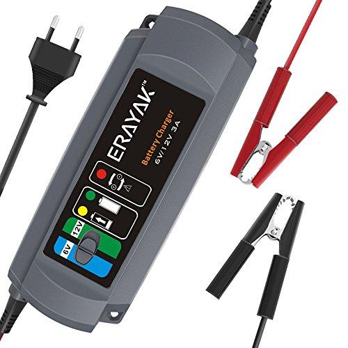ERAYAK 3.0A 6V/12V Caricabatterie Carica Batteria per Auto e Moto Automatico Mantenitore di Carica Mantenitore Batteria per Batteria al Piombo Acido 80Ah, Maintenance-Free, CA-CA, AGM e G