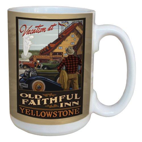 Old Faithful Inn, Yellowstone Park (Tree Free Grußkarten, 15 oz Keramik Yellowstone-Nationalpark Old Faithful Inn von Paul eine Lanquist Becher mit großen Griff, Mehrfarbig)