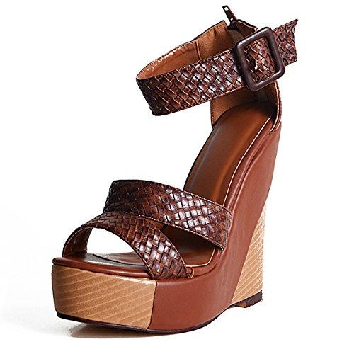 Onlymaker Damen Sandalen High Heels mit Plateau Ankle Buckle Geflochtene Wedge Braun Braun