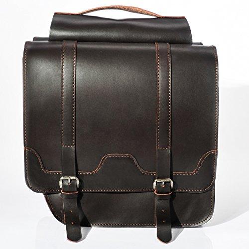 FSBIKE® CLASSIC RIDE I Leder Doppel Gepäckträgertasche | 100% Rindsleder/Premium Juchtenleder | Radtasche | Fahrradtasche | Top Qualität | Handgefertigt Brown-Premium