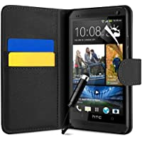 BLACK PU LEATHER FLIP SERIES CASE COVER + SCREEN PROTECTOR FOR HTC ONE by SUPERGETS®