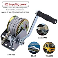 FGHGFCFFGH 12m Cable Length Multipurpose Manual Hand Winch 600lbs Boat Trailer For Caravans Marine Pull Hauling Lifting Sling Tool