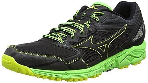Mizuno Wave Daichi 2, Chaussures de Running Compétition Homme, Noir (Black/Black/Green Gecko), 45 EU