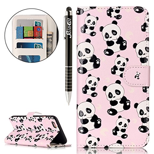 iPhone 6S Hülle,iPhone 6 Hülle,iPhone 6S/6 Ledertasche Handyhülle Brieftasche im BookStyle,SainCat Retro Karikatur Katze Hund Muster PU Leder Hülle Wallet Case Folio Schutzhülle Scratch Bumper Handyta Netter Panda
