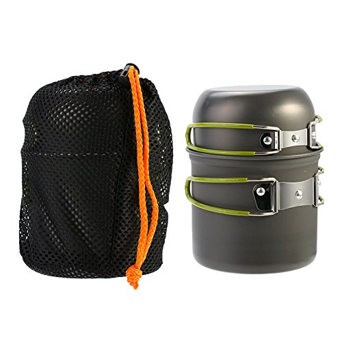 Portable Aluminum Alloy Picnic Cookware Non-Stick Pot Bowl Utensils Cooking Set with Mesh Bag for Outdoor Camping Survival