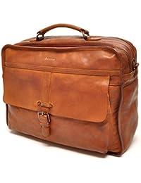 Italienne grand sac en cuir Voyage classique Pellevera Roma, porter sur le sac (marron foncé)
