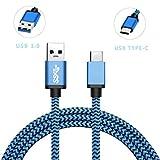 Romtronic USB 3.1 Type C vers USB Standard Type A 3.0 Câble, Nylon Synchronisation de données tressée avec câble de charge (3FT /0.9M, Double couleur: bleu et noir)