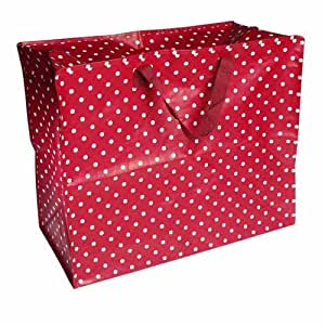 GRAND SAC SHOPPING ROUGE A POIS BLANCS