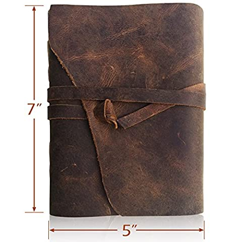 LEATHER JOURNAL Writing Notebook - Antique Handmade Leather Bound Daily Notepad For Men & Women - Unlined Paper Medium 18x13cm - Perfect Gift for Art Sketchbook, Travel Diary & Notebooks to Write in
