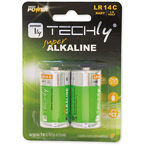 Techly Blister 2 Batteries High Power Half Torch C Alkaline LR14 1.5V IBT-KAL-LR14T - non-rechargea