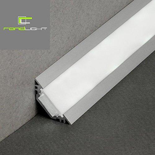 Preisvergleich Produktbild LED Eck Profil TRIO-T Alu 1m eloxiert + weisse Blende für LED Streifen