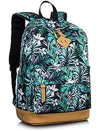 615f04dc21d38 Leaper Retro-Look canvas Rucksack mit Blumen kinderrucksack mädchen  schulrucksack für Schule Uni Freizeit (Large