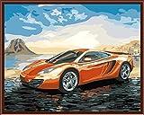 YEESAM ART Neuerscheinungen Malen nach Zahlen für Erwachsene Kinder - Car Prestige Auto Tour 16 * 20 Zoll Leinen Segeltuch - DIY ölgemälde ölfarben Weihnachten Geschenke