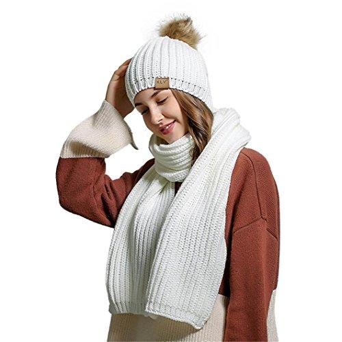 Mütze Schal Set Damen, DoraMe Frauen Häkeln Hut Fell Wolle Stricken Warme Mützen + Schal Anzug Waschbär (Weiß)