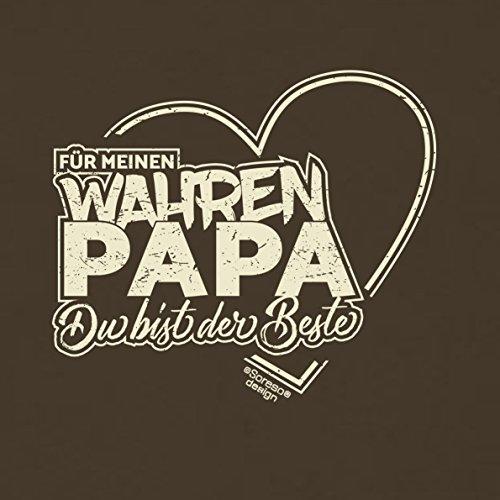 Vater, Vatertag, Vatertagsgeschenk T-Shirt Funshirt Für meinen wahren Papa Geschenkidee, Geschenkset, auch in Übergröße Farbe: braun Braun