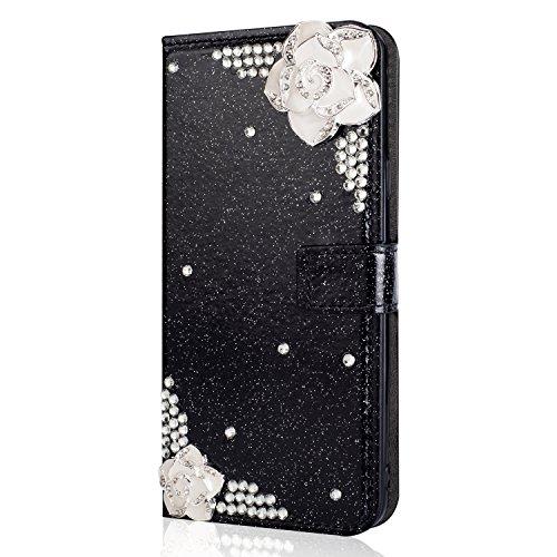 Kucosy Galaxy A8 Plus Diamant Hülle Luxury Bling Glitzer Handyhülle Sparkle DIY Strass PU Leder Handytasche mit Magnet Kartenfächer und Standfunktion für Galaxy A8 Plus - Kamelie Schwarz