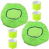 com-four® 2X Regenschutzhülle für Schulranzen, Rucksäcke etc. mit Gummizug und 4X Reflektor Schnapparmband (06-teilig - Regenschutzhülle+Reflektorbänder grün)