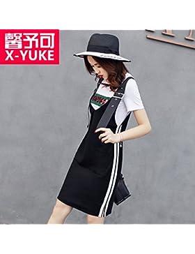 Elegantes vestidos de manga corta delgada vídeo ocio regresa con dos kit falda,XL,negro