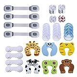 Baby Sicherheits Set, 42 Teile Set für Kindersicherung, 14 x Eckschutz, 14 x Steckdosenschutz, 6 x Finger-Klemmschutz, 4 x Schranksicherung, 4 x Universal Sicherung