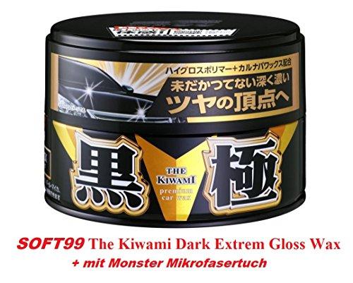 The Kiwami Soft99 Extreme Gloss Wax Black Hartwachs Autowachs für dunkle Lacke mit Monster Mikrofasertuch