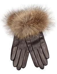 ELMA Frauen aus italienischem Leder Handschuhe Lang Fleece, gesäumt von luxuriösen Waschbär-Pelz-Stulpe