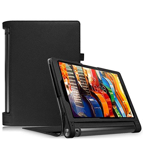 Fintie Lenovo Yoga Tablet 3 10 Hülle Case (nicht für Lenovo Yoga Tab 3 Plus / Yoga Tablet 3 Pro geeignet) - Slim Fit Folio Premium Kunstleder Schutzhülle Tasche Etui Cover mit Auto Sleep / Wake für Lenovo Yoga Tablet 3 25,7 cm (10,1 Zoll), Schwarz