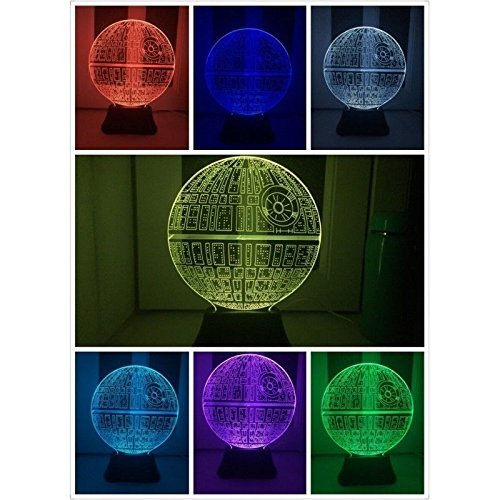 Lámpara de mesa LED, ilusión óptica 3D, diseño de Estrella de la...