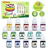 Lebensmittelfarbe - 15 Flüssige Lebensmittel Farben Set für Kuchen Backen, Kekse, Macaron -...