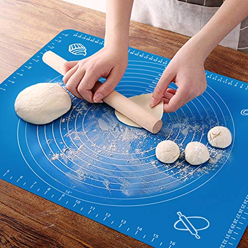 OKeanu Silicone Baking Mat with Measurements, Pastry Rolling Mat, Cooking Mat Professional Non Stick Liner for Making Cookies, Macarons,Bread and Pastry(40 * 50cm)
