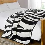 Dreamscene Animal Mink Faux Fur Throw, Zebra, 125 x 150 Cm