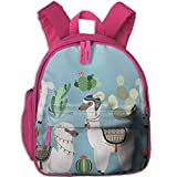 Lovely Schoolbag Llama and Cactus Clipart Double Zipper Waterproof Children Schoolbag with Front Pockets for Youth Boys Girls