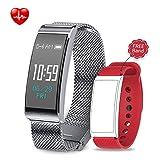Unitify Fitness Armband Sport Bracelet Touchscreen Wasserdicht Smart Fitness Tracker mit Schrittzähler Pulsmesser GPS Anruf Erinnerung Schrittzähler Armband Smartwatch für Android IOS Smartphone (Silber)