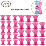 MLMSY Hair Curlers, 30Pcs Silicone No Heat Hair Rollers No Clip Magic Soft Rollers Hair Curling Tools Diy Salon Hair Care Hair Styling Tool, Pink 30 Pcs