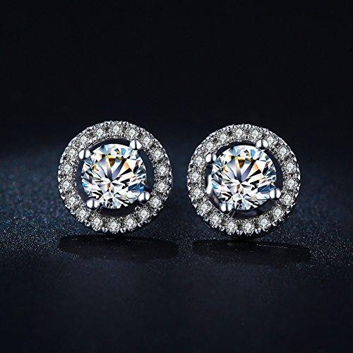 Damen Ohrringe, Mode Schöne 925 Sterling Silber Runde Zirkonia Ohrringe Schmuck Geschenk
