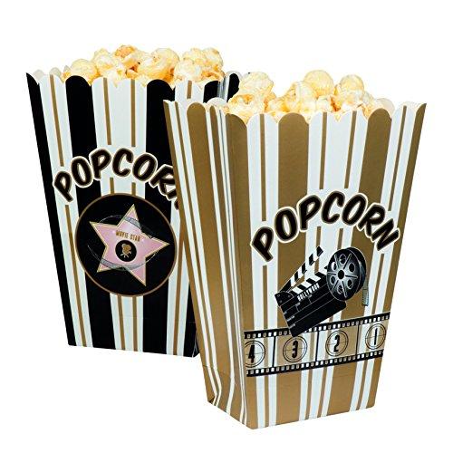 et Schalen für Popcorn Hollywood, weiß/schwarz/gold (Silvester-party Pack)