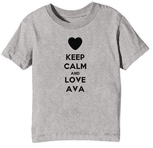 fef1f2c7674c5 Keep Calm and Love AVA Niños Unisexo Niño Niña Camiseta Cuello Redondo Gris  Manga Corta Tamaño