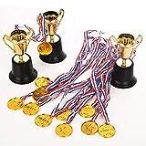 Fashionbabies Kit de 40 Piezas de trofeos de Oro, 36 Piezas de medallas de plástico Dorado y 4 Piezas de trofeos de plástico Dorado para Fiestas, Deportes y premios