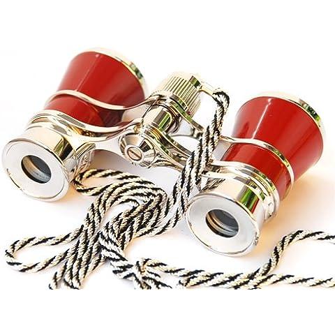 NuoYa005–Prismáticos de cristal rojo ópera/Teatro 3x 25con recubrimiento lente/cadenas de collar hermoso