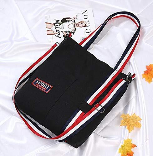 NANIH Home Weibliche Leinwand Bunte Schultergurte Tasche Umweltfreundliche Tote Bag Einfache Licht Datei Shopping Reise Handtasche - 4 Taschen Tote-leinwand-tasche